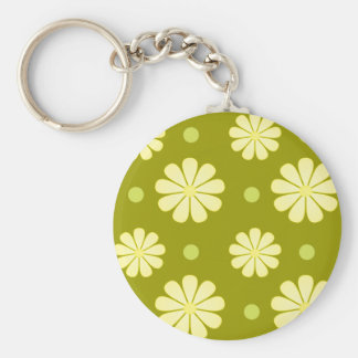 Dots and Daisies Basic Round Button Key Ring