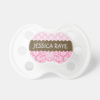 Dots and Damask Pacifier