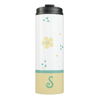 Dots and Flowers Monogrammed Thermal Tumbler