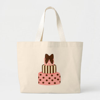 Dots and Stripes Cake Large Tote Bag