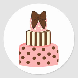 Dots and Stripes Cake Round Sticker