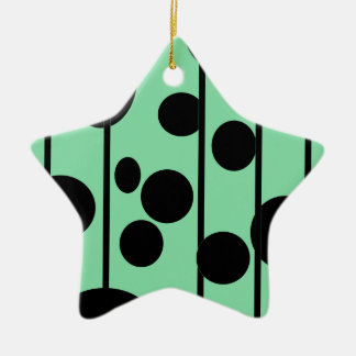 Dots and stripes ceramic star decoration