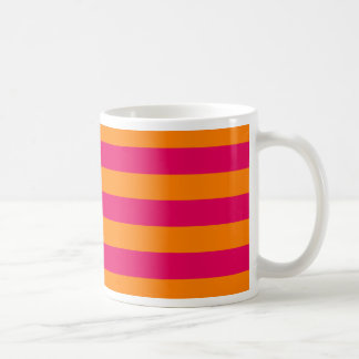 Dots and Stripes Forever hot pink and orange Coffee Mugs