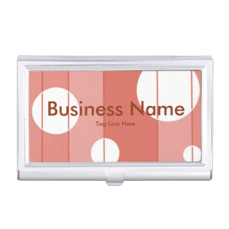 Dots and Stripes in BarnRed Case For Business Cards