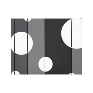 Dots and Stripes in Grey Stretched Canvas Print