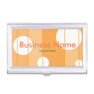 Dots and Stripes in YellowOrange Business Card Holders