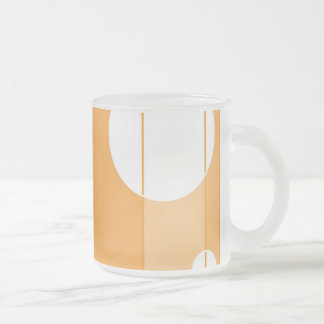Dots and Stripes in YellowOrange Frosted Glass Mug