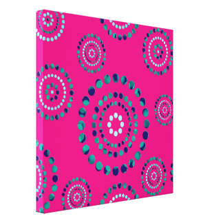 Dots Circle Power Flowers + your backgr. Stretched Canvas Print