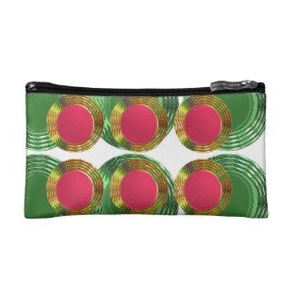 DOTS Circles Round Disc Disk Golden RED Decoration Makeup Bag