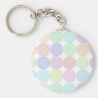 Dots colorful basic round button key ring