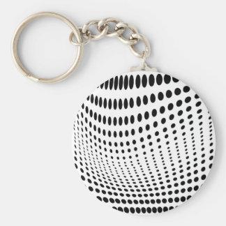 Dots Optical Illusion Basic Round Button Key Ring