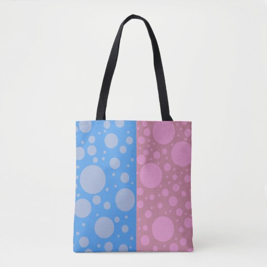 Dots Pink Blue Custom All-Over-Print Tote Bag