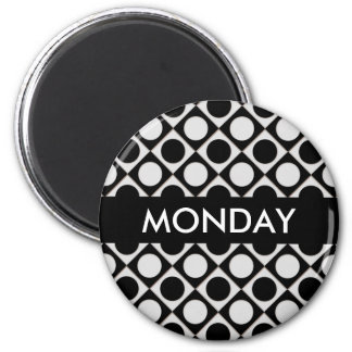 Dots & Squares / black white + your ideas 2 Inch Round Magnet