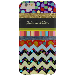 dots, stripes & chevron personalized barely there iPhone 6 plus case