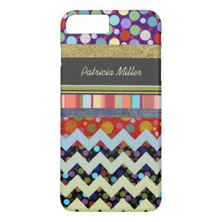 dots, stripes & chevron personalized iPhone 7 plus case