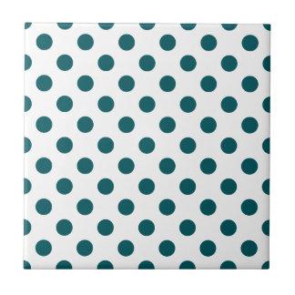 DOTS - TEAL (a polka dot design) ~ Small Square Tile