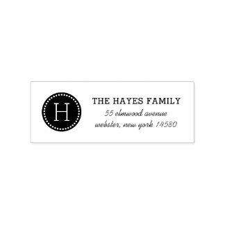 Dotted Circle Family Monogram Address Stamp