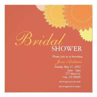 Dotted Flowers - Orange, Yellow 13 Cm X 13 Cm Square Invitation Card