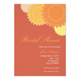 Dotted Flowers - Orange, Yellow 13 Cm X 18 Cm Invitation Card