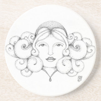 Dotted girl beverage coasters