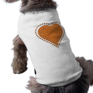 DOTTED GOLDEN HEART SLEEVELESS DOG SHIRT