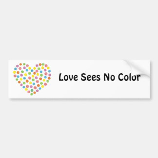 dotted heart, Love Sees No Color Bumper Sticker