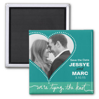 Dotted Heart Save the Date turquoise Square Magnet