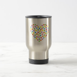 Dotted Heart Stainless Steel Travel Mug