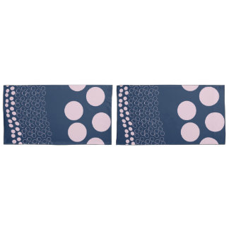Dotted Layers - Pale Pink&Dark Blue - Pillow Case