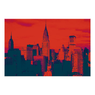 Dotted Red Blue Retro Style Pop Art New York City Poster