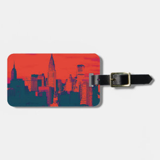 Dotted Red Blue Retro Style Pop Art New York City Travel Bag Tags