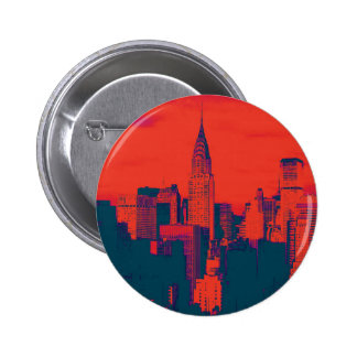 Dotted Red Retro Style Pop Art New York City 6 Cm Round Badge