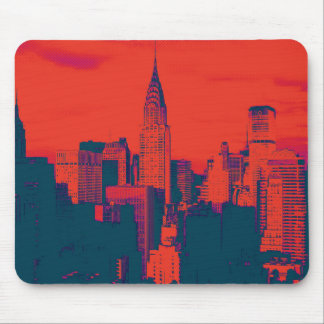 Dotted Red Retro Style Pop Art New York City Mouse Pad