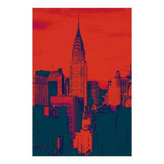 Dotted Red Retro Style Pop Art New York City Poster