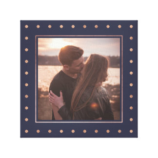 Dotted Rose Gold and Midnight Blue with your Photo Canvas Print