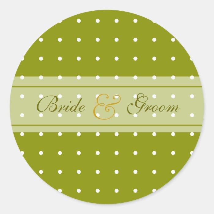 Dotted wedding round sticker