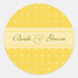 Dotted wedding round stickers