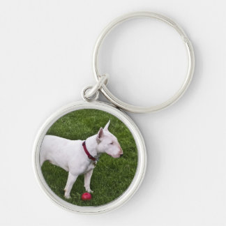 Dottie and Ball Silver-Colored Round Key Ring