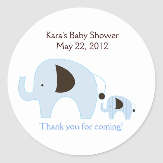 Dottie Elephant Blue Baby Shower Favour Sticker