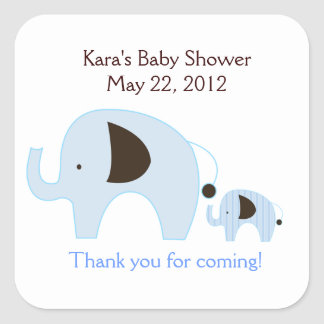 Dottie Elephant Blue SQUARE Favor Sticker