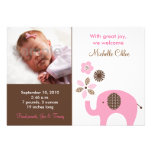 Dottie Pink Elephant Photo Birth Announcements