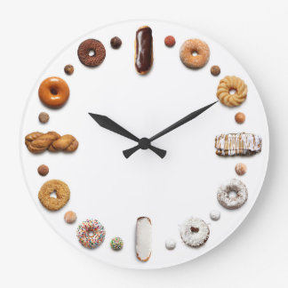 Dotty Donuts Clock feat. long donuts on white