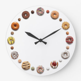 Dotty Doughnuts, all ring doughnuts on white Large Clock