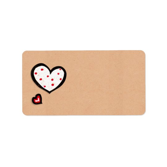Dotty Hearts kraft Address Label