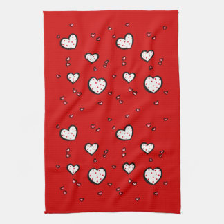 Dotty Hearts red Kitchen Towel