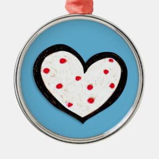 Dotty Hearts turquoise red Premium Round Ornament