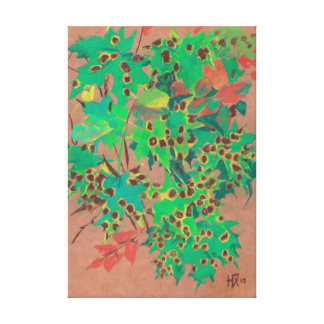 Dotty leaves, autumn floral, green, yellow & brown canvas print