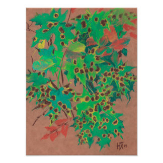 Dotty leaves, autumn floral, green, yellow & brown poster