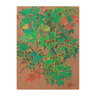 Dotty leaves, autumn floral, green, yellow & brown wood print