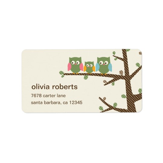 Dotty Owls Address Label